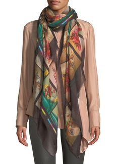 Stella McCartney Floral Graphic Fringe Silk Scarf