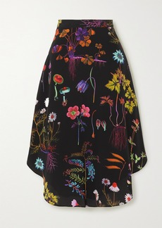 Stella McCartney Floral-print Silk Crepe De Chine Midi Skirt