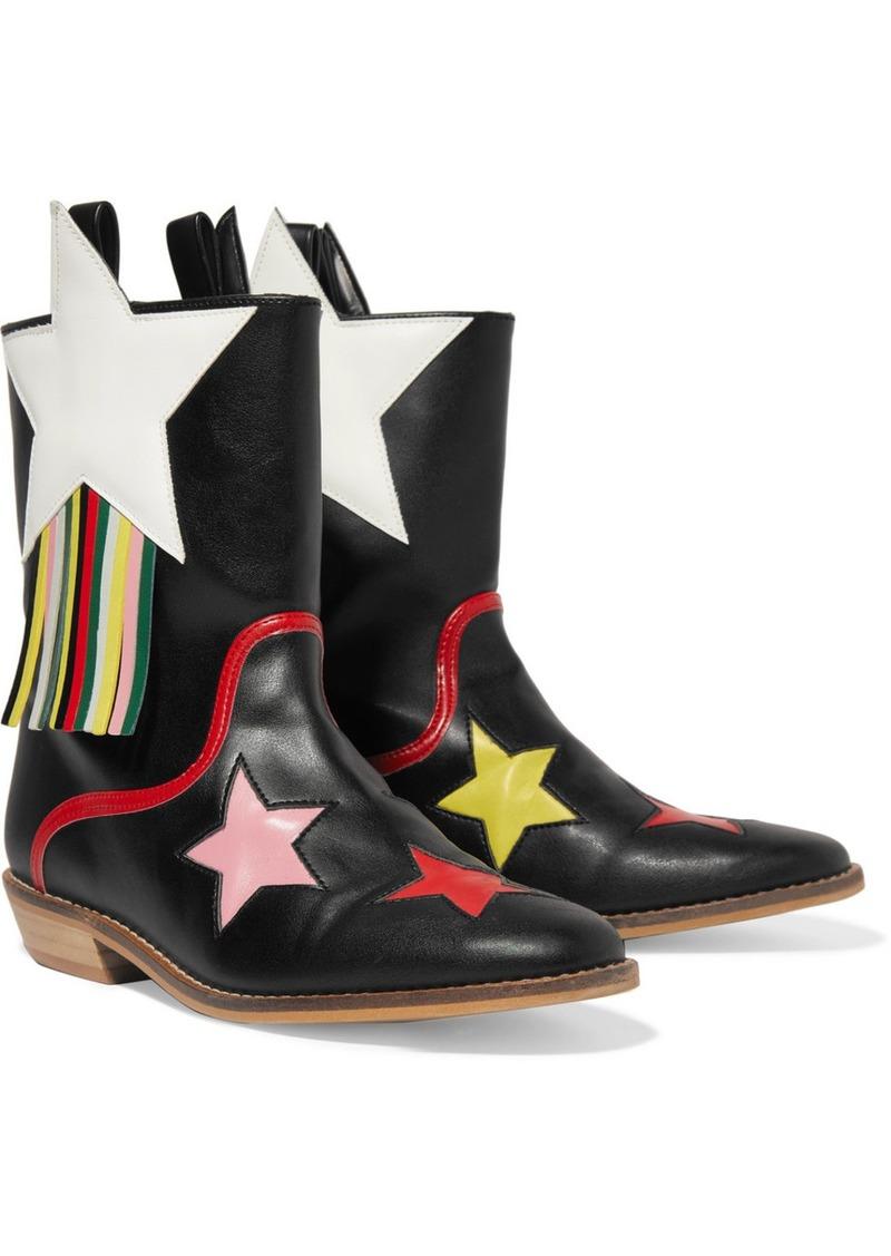 Stella McCartney Fringed Faux Leather Cowboy Boots