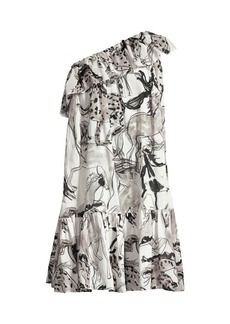 Stella McCartney Horse Print Ruffle One-Shoulder Dress
