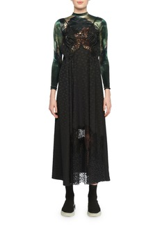 Stella McCartney JH Lynch Tina Long-Sleeve Velvet Top Attached Floral-Print & Lace Silk Cami Dress