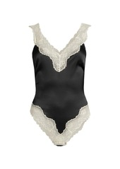 Stella McCartney Lace-Trim Silk-Blend Bodysuit