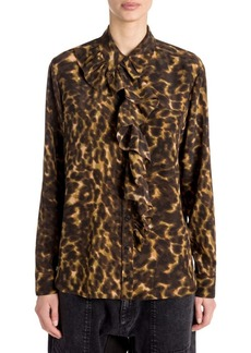 Stella McCartney Leopard Camo Ruffled Silk Blouse