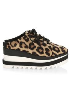 Stella McCartney Leopard-Print Platform Wedge Sneaker Mules