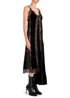 Stella McCartney Lingerie Asymmetric Velvet & Lace Slip Dress