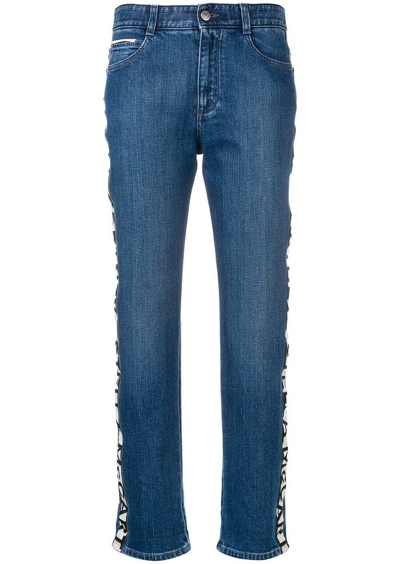 Stella McCartney logo stripe boyfriend jeans