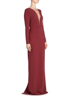 Stella McCartney Long-Sleeve Stretch Cadet Lace-Front Gown