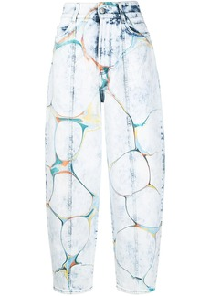 Stella McCartney marbled-print straight-leg jeans