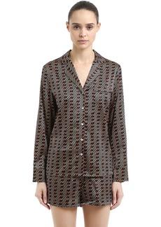 Stella McCartney Matches Print Silk Pajama Shirt & Pants