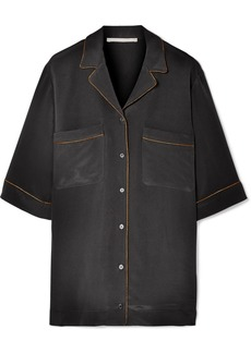 Stella McCartney Metallic-trimmed Silk Crepe De Chine Shirt