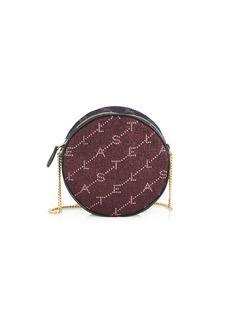 Stella McCartney Mini Monogram Crystal-Embellished Lurex Circle Bag