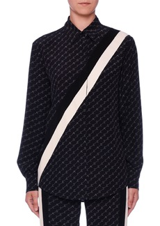 Stella McCartney Monogram Button-Front Long-Sleeve Silk Boyfriend Shirt
