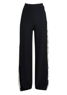 Stella McCartney Monogram Wide-Leg Wool & Silk Trousers