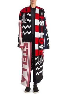 Stella McCartney Multi Logo Wool Blanket Coat