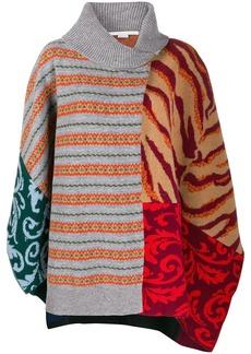 Stella McCartney multi-pattern knitted poncho