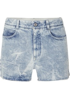 Stella McCartney Net Sustain Embroidered Distressed Denim Shorts