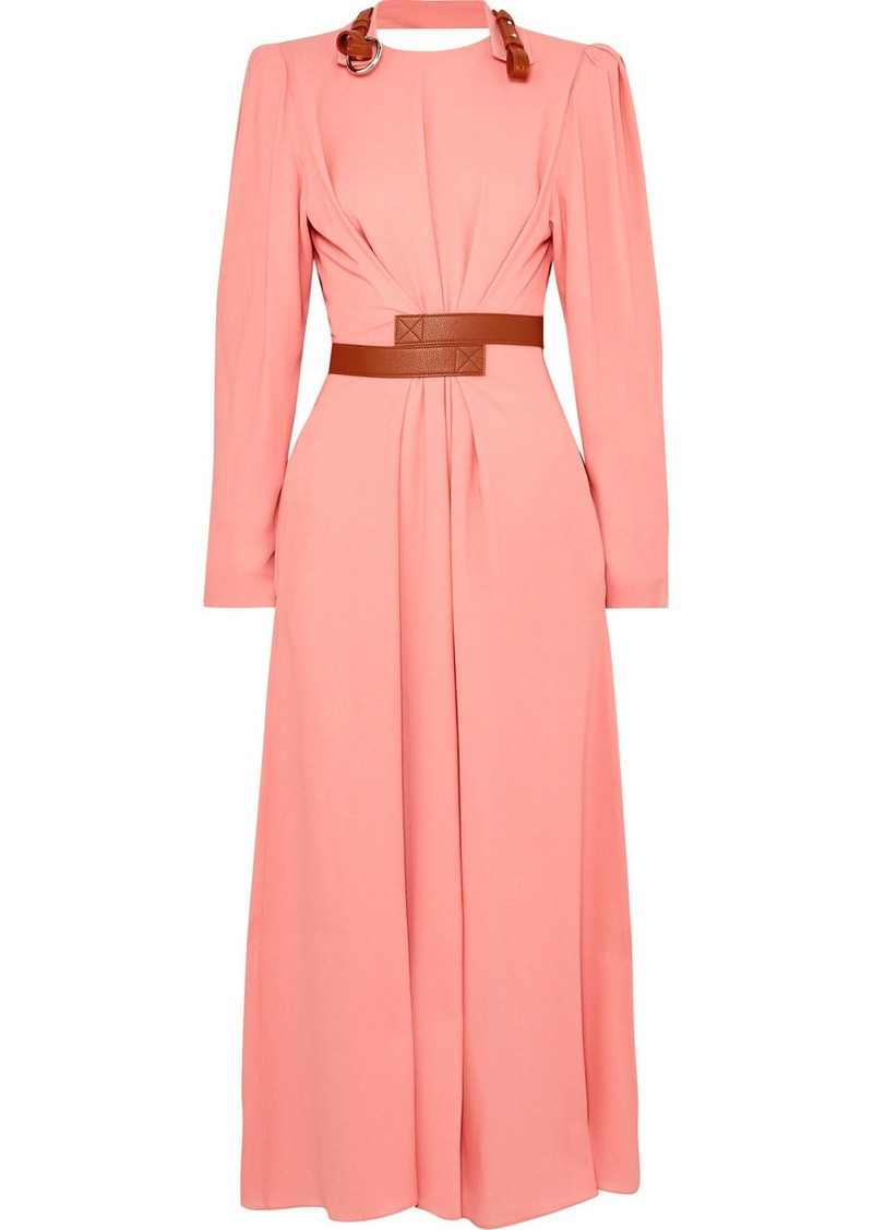Stella McCartney Net Sustain Faux Leather-trimmed Crepe Dress