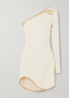 Stella McCartney Net Sustain One-sleeve Asymmetric Embellished Cady Mini Dress
