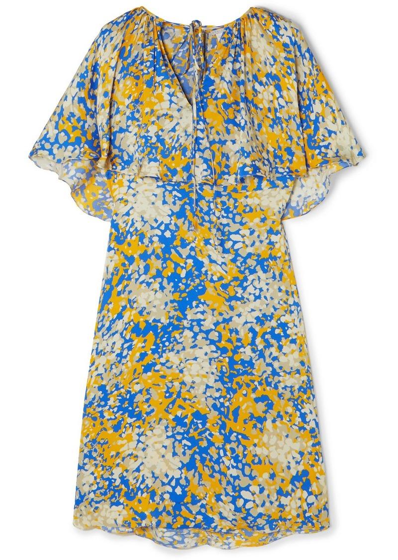 Stella McCartney Net Sustain Printed Cape-effect Crepe Midi Dress