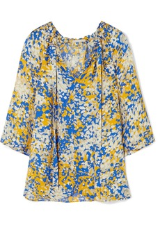 Stella McCartney Net Sustain Pussy-bow Printed Crepe Blouse