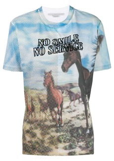 Stella McCartney No Smile No Service digital horse print T-shirt