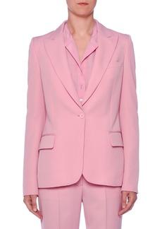 Stella McCartney One-Button Peak-Lapel Classic Wool Blazer