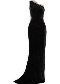 Stella McCartney One-shoulder Lace-paneled Velvet Gown