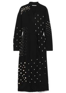 Stella McCartney Oversized Faux Pearl-embellished Silk Crepe De Chine Wrap Dress