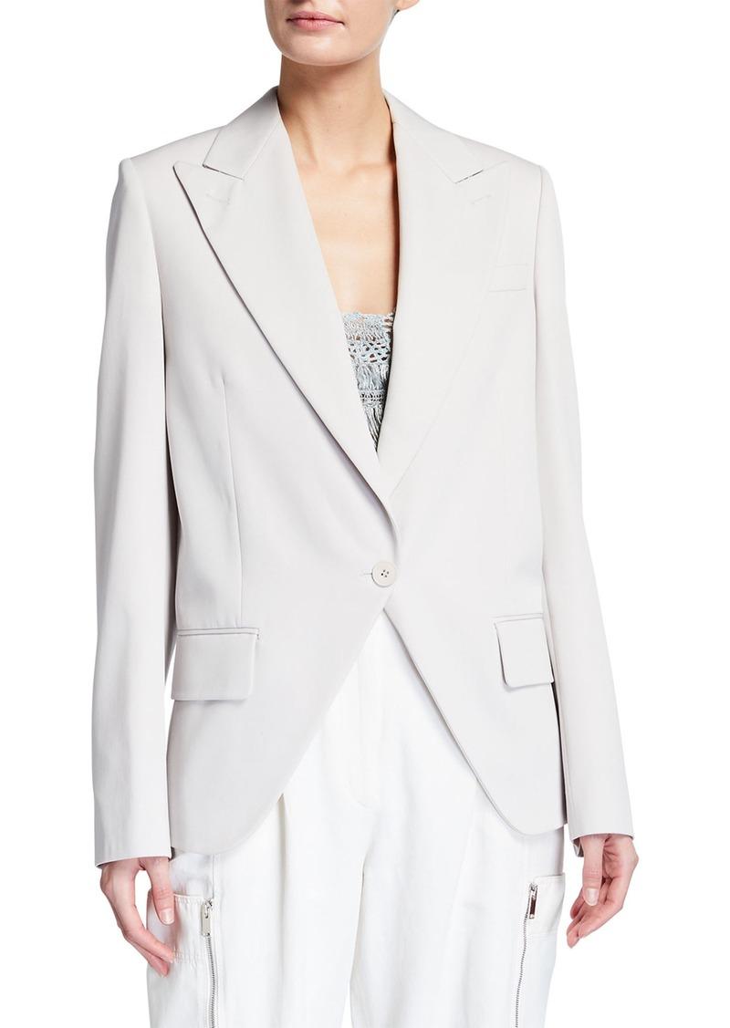 Oversized Wool Twill Peak-Lapel Tuxedo Jacket