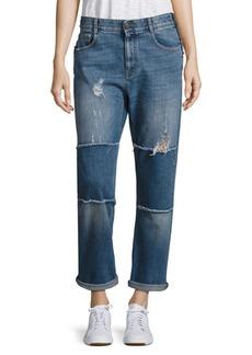 Stella McCartney Patchwork Distressed Skinny Boyfriend Jeans