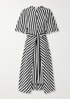 Stella McCartney Penelope Belted Striped Silk-satin Midi Dress