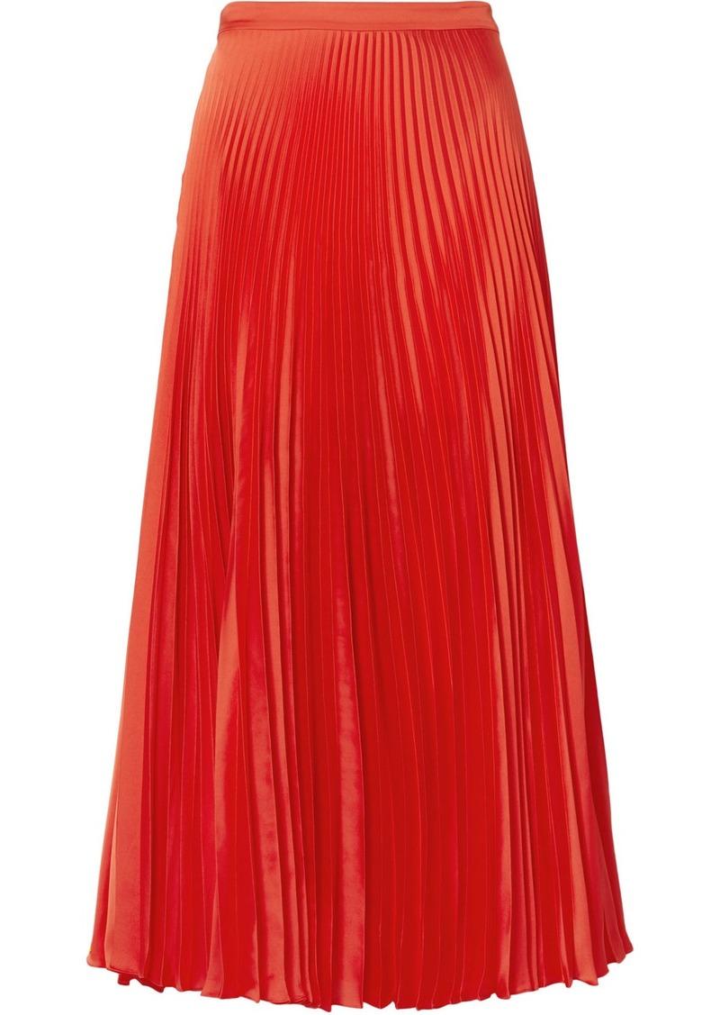 Stella McCartney Pleated Satin Midi Skirt