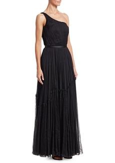 Stella McCartney Plisse Chiffon One-Shoulder A-Line Gown