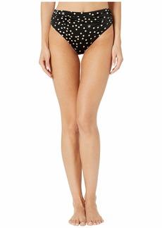 Stella McCartney Polka Dot Print Draped High-Waist Bikini Bottom