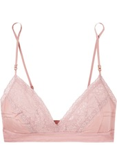 Stella McCartney Rose Romancing Mesh And Lace-trimmed Silk-satin Triangle Soft-cup Bra