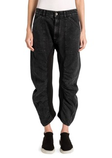 Ruched Cropped High-Waist Jeans