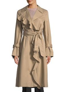 Stella McCartney Ruffle-Trim Cotton Trench Coat