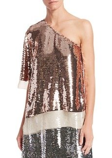 Stella McCartney Sequin Embroidered Chiffon One-Shoulder Tee