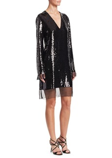 Stella McCartney Sequin-Embroidered Chiffon Shift Dress