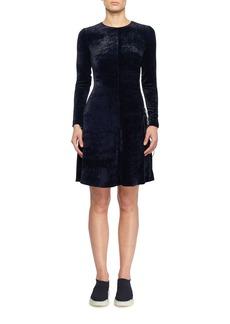 Stella McCartney Side Lacing Crewneck Long-Sleeve Fitted A-Line Velvet Short Dress