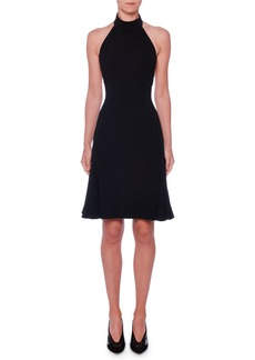 Stella McCartney Sleeveless Halter-Neck Open-Back Fit-and-Flare Stretch-Cady Dress