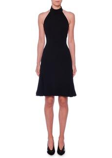 Stella McCartney Sleeveless Halter-Neck Open-Back Fit-and-Flare Stretch-Cady Dress
