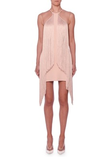 Stella McCartney Sleeveless Illusion Wing Fringe Stretch-Cady Mini Dress