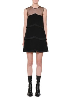 Stella McCartney Sleeveless Sheer-Yoke Tiered Pleated Mini Dress