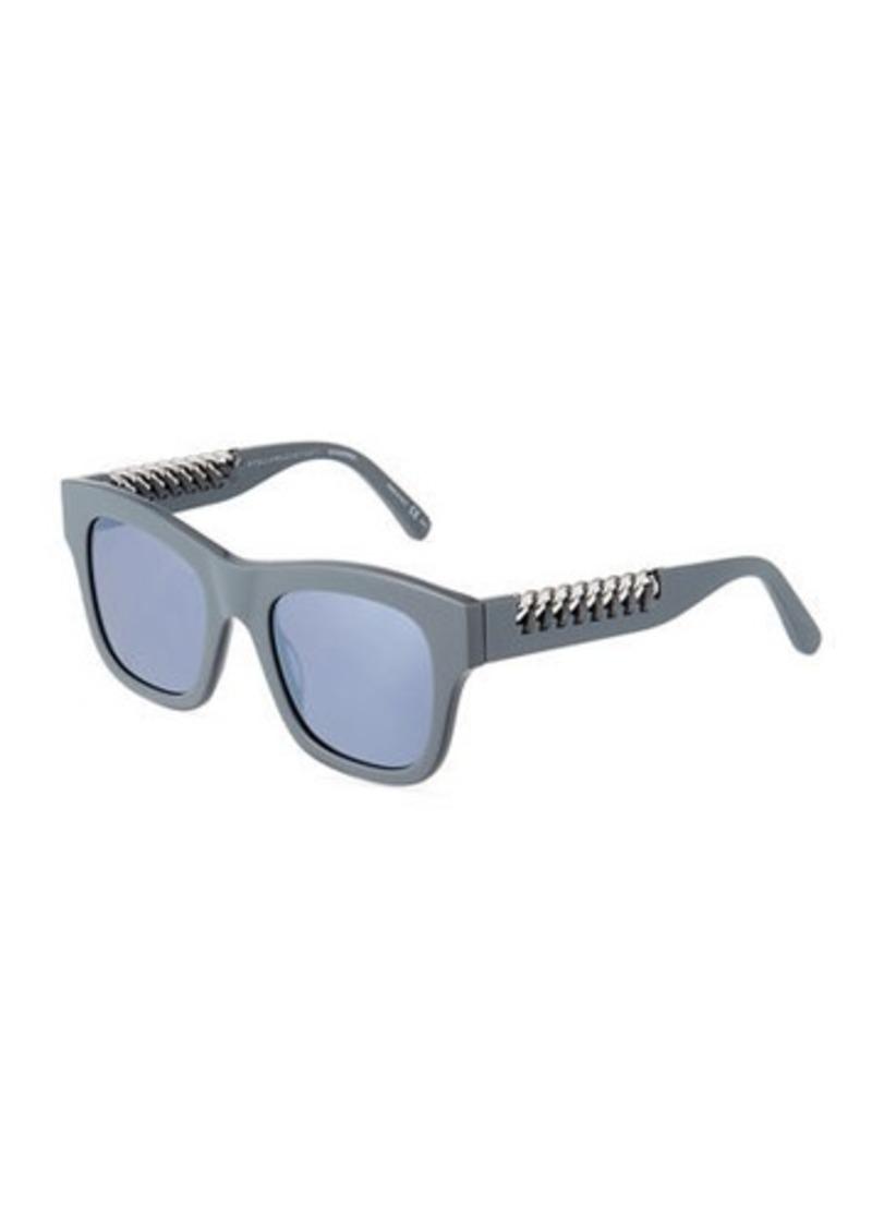77299a42d4 Stella McCartney Square Plastic Sunglasses w  Chain Arms