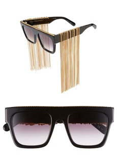 Stella McCartney 51mm Chain Fringe Square Sunglasses