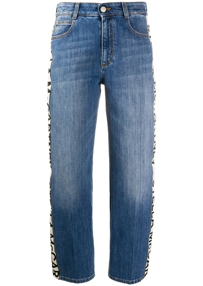 Stella McCartney logo striped cropped jeans