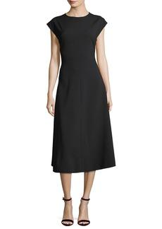 Stella McCartney Addison Side-Button A-Line Midi Dress
