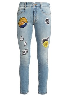 Stella McCartney All is Love-embroidered cropped skinny-leg jeans