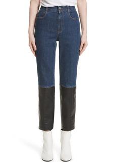 Stella McCartney Alter Leather Trim High Waist Straight Leg Jeans